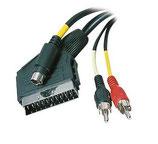 Scart Kabel Scart Stecker auf Mini-DIN Stecker, 2x Cinch, 2.5meter