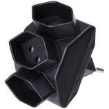 Abzweigstecker 3 x Typ 13 schwarz