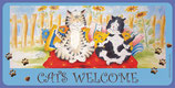 Kunstpostkarte lang cats welcome