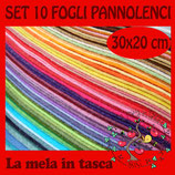 SET 10 FOGLI PANNOLENCI 1mm 30x20cm