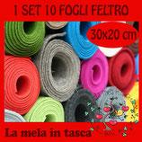 SET 10 FOGLI FELTRO 4mm  30x20cm