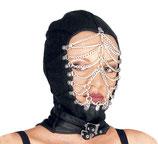 50-5026 Leder Maske mit geschlossenem Hinterkopf und Kettenverzierung