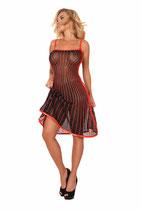 50-2285 Kleid Datex schwarz rot