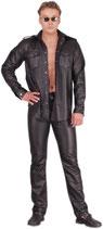 50-992 Herren Lederhose Jeans-Stil schwarz