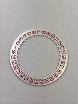 Buren,Breitling,Heuer 11,12,15 - Valjoux 7740 - Teil 2557 - NOS Datumsscheibe / Date Disc Rot Red