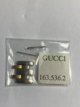 Gucci Vintage Armband Ersatzglied für Damenuhr Ref.: 163.536.2 - Stahl / Gold - Breite ca. 14 mm -  NOS (New old Stock)