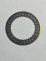 FP (Frederic Piguet) 1270 (auch verwendet von Bulgari,Omega,Tudor,Breitling,Cartier,Hublot 1270) Teil 2557 - Datumscheibe schwarz/gold - NOS (New Old Stock)