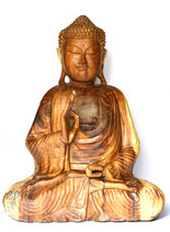 "Buddha aus Holz ""one hand up"""