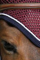 Bonnet de cheval Diamant Rider Bordeaux - Galon Marine - Cord Blanche - Harcour