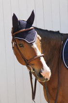 Bonnet de cheval Diamant Rider Marine - Galon marine - Cord blanche - Harcour