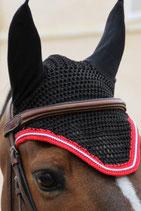 Bonnet de cheval Diamant Rider Noir - Galon rouge - Cord argent - Harcour
