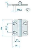 CERNIERA INOX mm.40x38 - 2742909