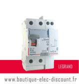 Interrupteur différentiel 63A 30mA type A Réf 411639 Legrand