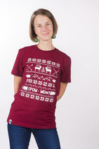"UNISEX T- Shirt ""Hohoho"" burgundy"