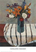 Blumenstilleben mit gestreifter Decke - KUNSTPOSTER DIN A1