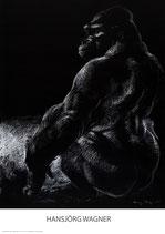 sitzender Gorilla, seitlich - KUNSTPOSTER DIN A1