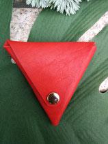 日本最高級!栃木レザーの三角コインケース(赤色)