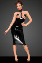 F192 PVC Kleid mit extra langem 2-Wege Reißverschluss auf der Rückseite und Kunstleder Halsband