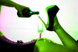 Sektglas am Po, grün