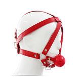 Kunstleder Knebelharness mit Kopfriemen