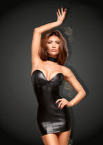 Powerwetlook Minikleid mit Ecoleather cups