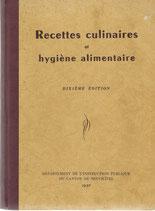Recettes culinaires et hygiène alimentaire 1957