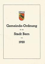 Gemeinde-Ordnung für die Stadt Bern 1920