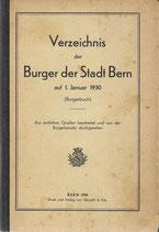 Verzeichnis der Burger der Stadt Bern auf 1. Januar 1930