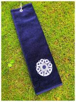 Golfhanddoek donkerblauw met witte knoop