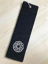 Golfhanddoek Zwart, met zilver geborduurde knop