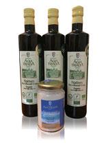 Sparset 3x750ml Flaschen BIO Olivenöl Extra Nativ-Meersalz 210g Glas -Kloster Agia Triada-Kreta
