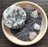 animapura Lavendelseife - Ziegenmilchseife mit echtem gemahlenen Rosenquarz und Bergkristall