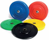 Discos Bumper Goma Maciza con Casquillo Acero Color