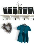 Kleid aus Musselin mit Knopfleiste Petroleum Gr 86 / 92