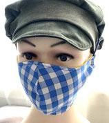 Behelfsmaske FACIE  4 Größen - Karo blau weiß