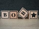Houten naamblokken met afbeelding