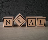Houten naamblokken klein 3x3cm