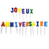 """18 Bougies """"Joyeux anniversaire"""" multicolores"""