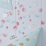 Confettis Happy Birthday et confettis pastels