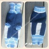 P18 Selbstgestrickter Hundepullover Blau/Weiß mit Knöpfe