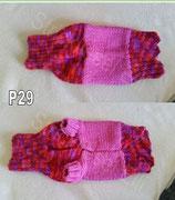 P29 Selbstgestrickter Hundepullover Rosa/Rot