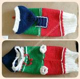 P3 Selbstgestrickter Hundepullover Blau/Grün/Rot/Weiß Mütze