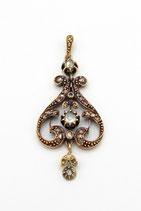 14 Karaat gouden hanger bezet met roosdiamanten, ca.1880.