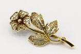 14 Karaat gouden filigrain broche in de vorm van een bloem.