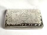 Hollands zilveren tabaksdoos met gravering 'Tabak'  1856.