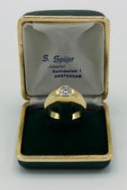 14 Karaat gouden heren pinkring-solitairring met briljant geslepen diamant van 0.75ct.