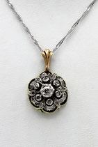 14 Karaat goud met zilveren hanger bezet met roosdiamanten, ca.1880.
