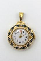 18 Karaat Engels gouden dames horloge, versierd met blauw en wit emaille en roosdiamanten, George Stockwell Londen 1911.