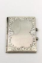 Zilveren fotolijstje, medaillon boekje met bloemen, 925.