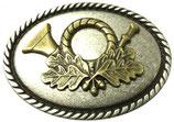 Gürtelschnalle Jagdhorn 4,0 cm - Bicolor Silber / Gold